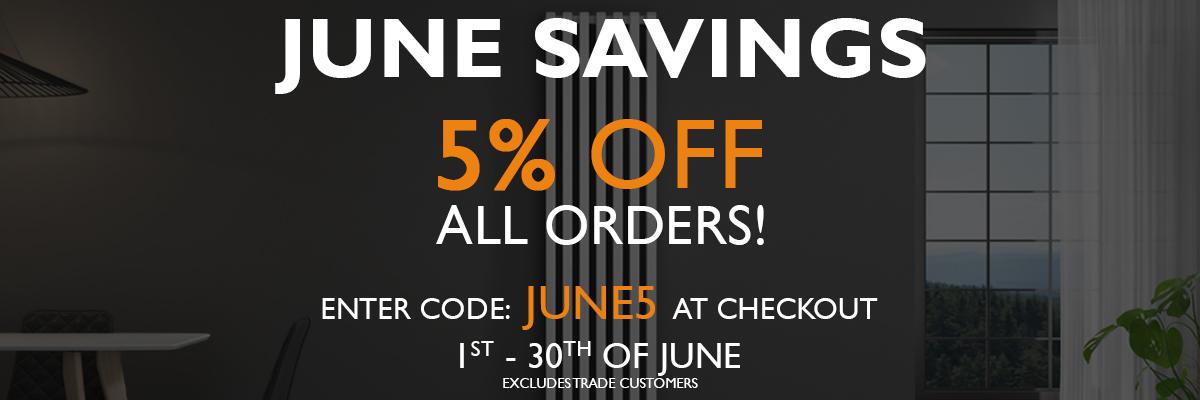 5% off All Orders. Code: JUNE5